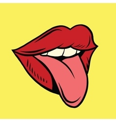 Red pop art mouth with tongue hanging out vector