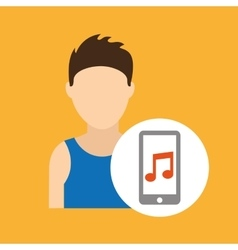 Character caucasian smartphone music application vector