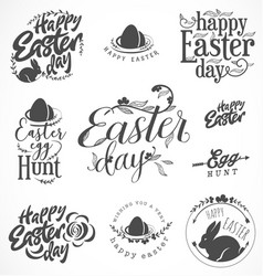 Easter greeting card elements labels and badges vector