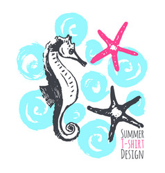 Summer t-shirt design with starfishes and seahorse vector