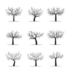 Set black apple trees vector