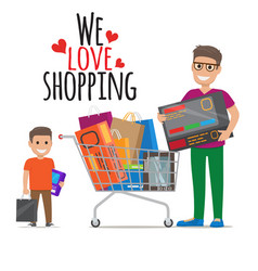 We love shopping icon of father and son with packs vector