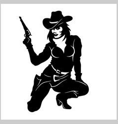 pin up girl sexy cowgirl vector image