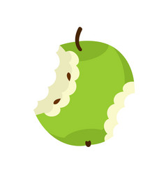 Green apple core isolated fruit trash rubbish on vector
