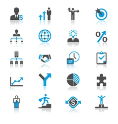 Business flat with reflection icons vector image