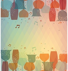 Musical cocktail glass colorful background vector
