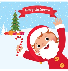 Child in costume Santa Claus vector image