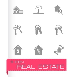 Black real estate icons set vector
