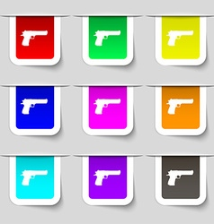Gun icon sign set of multicolored modern labels vector