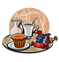 cupcake candy and coffee with milk vector image