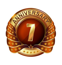 7 years anniversary golden label with ribbon vector image vector image