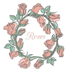 Decorative floral garland with pink roses vector