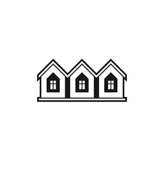 Simple monochrome cottages black and white vector