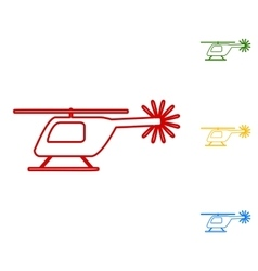 Helicopter sign set of line icons vector