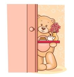 Teddy bear breakfast tray vector