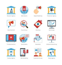 Media Advertising Flat Design Icons vector image