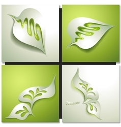 Abstract paper green leaf vector image vector image