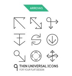Arrow thin line icon set vector
