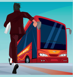 Businessman in a hurry for the passenger bus vector