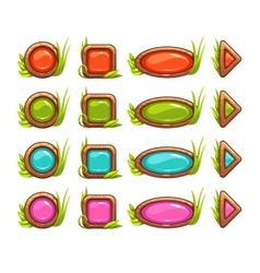 Cartoon buttons with colorful middle vector