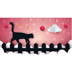 Cartoon paper landscape cat vector