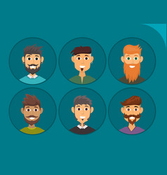 character of various expressions bearded man face vector image vector image
