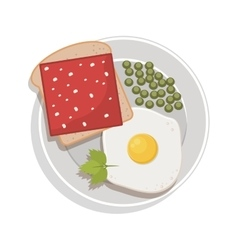 food plate with egg green peas bread ham vector image