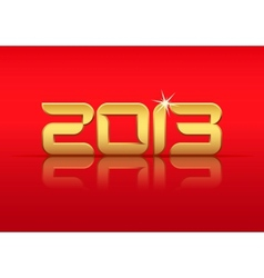 Gold 2013 year with reflection vector image vector image