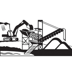 Gold mining wash plant vector