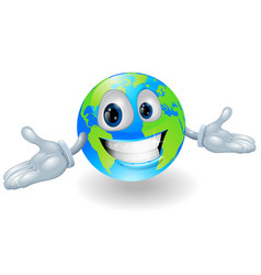 happy cute globe character vector image
