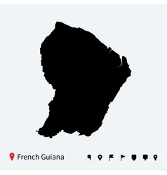 High detailed map of french guiana with navigation vector