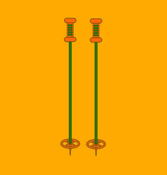 Icon in flat design ski poles vector