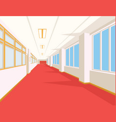 Interior of school hall with red floor windows vector