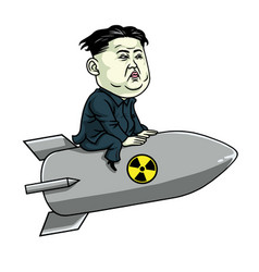 kim jong un on nuclear rocket weapon cartoon vector image