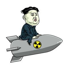 kim jong un on nuclear rocket weapon cartoon vector image vector image