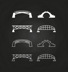 line and outline bridges design on chalkboard vector image vector image