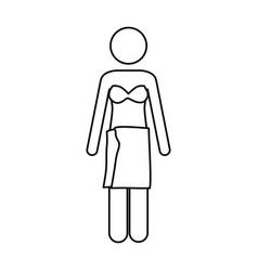Monochrome contour pictogram of woman in bikini vector