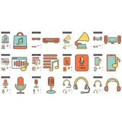 Music line icon set vector
