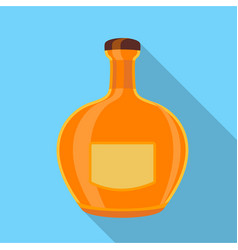 Orange glass bottle icon flat style vector