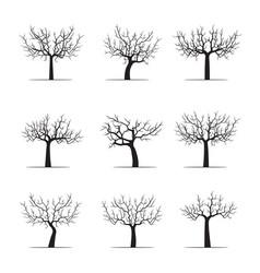 set black apple trees vector image vector image