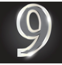 Silver metallic number vector image