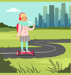 Smiling school girl riding on gyroscope on city vector