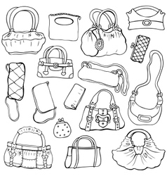 Womens handbags hand drawn set 2 vector