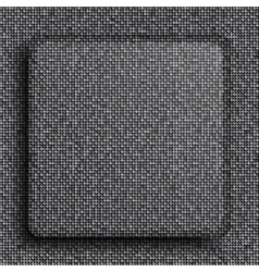 Silver square button on square grey background vector