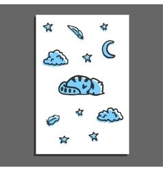Greeting card with sleeping raccoon moon and vector image