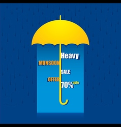 Creative heavy monsoon offer banner under umbrella vector