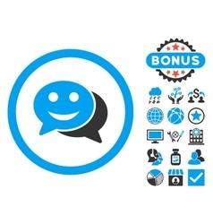 Happy Chat Flat Icon with Bonus vector image