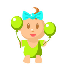 Small happy baby girl in green onesie with two vector