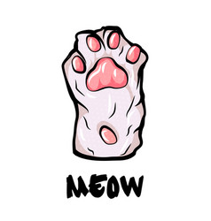 Cat paw palm isolated on white background simple vector