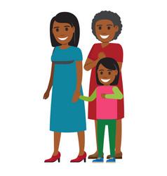 Tree generations of women standing together vector